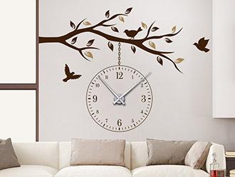 Wandtattoo Uhr Ast mit Vögeln