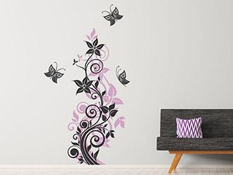 Wandtattoo Ranken und Schmetterlinge