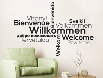 Wandtattoo Willkommen in vielen Sprachen