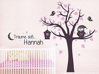 Wandtattoo Träume süß mit Name und Baum