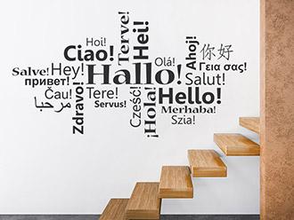 Wandtattoo Hallo in vielen Sprachen