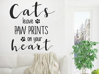 Wandtattoo Cats leave paw prints...