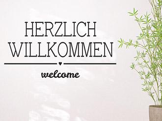 Wandtattoo Herzlich Willkommen Welcome