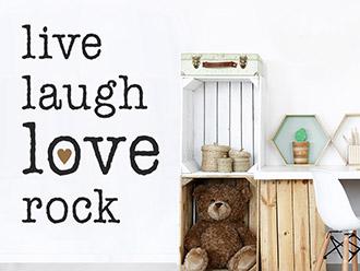 Wandtattoo Live Laugh Love Rock