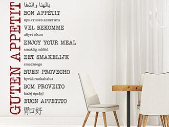 Wandtattoo Guten Appetit in vielen Sprachen
