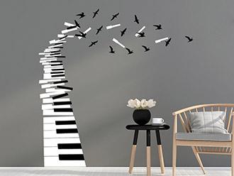 Wandtattoo Klaviertasten mit Vögeln