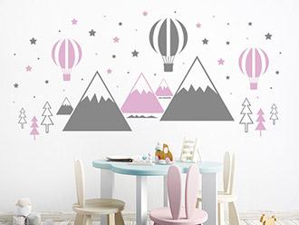 Wandtattoo Heißluftballons und Berge