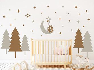 Wandtattoo Wald mit Sternen und Eule