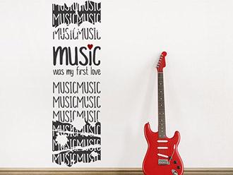 Wandtattoo Banner Vintage Music