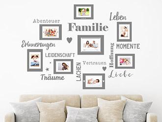 Wandtattoo Fotorahmen für Familien