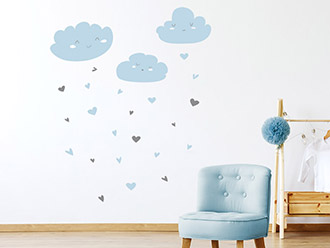 Wandtattoo Wolken mit Herzen