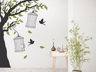 Wandtattoo Baum mit Vogelkäfigen