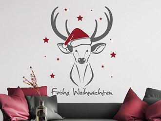 Wandtattoo Frohe Weihnachten Hirsch mit Sternen