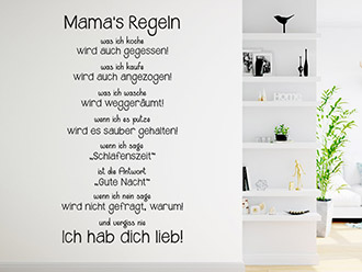 Wandtattoo Mama's Regeln