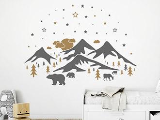 Wandtattoo Berglandschaft mit Sternen
