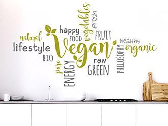Wandtattoo Wortwolke Vegan