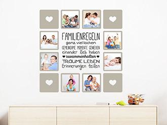 Wandtattoo Fotorahmen Familienregeln