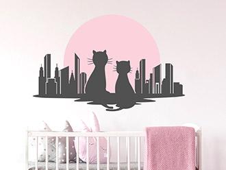 Wandtattoo Skyline mit Katzen
