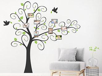Wandtattoo Verspielter Baum mit Fotorahmen