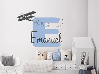 Wandtattoo Name mit Flugzeug