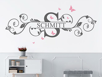 Wandtattoo Ornament mit Name