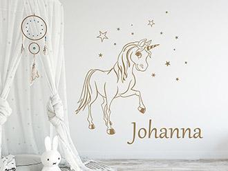Wandtattoo Verzaubertes Pony mit Wunschname