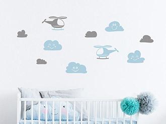Wandtattoo Set Hubschrauber und Wolken