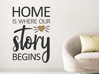 Wandtattoo Home is where our story...