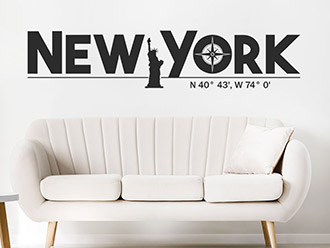 Wandtattoo New York Koordinaten