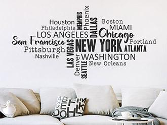 Wandtattoo Wortwolke USA Städte