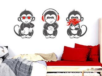 Wandtattoo Coole Affen