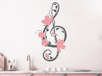 Wandtattoo Notenschlüssel Ornament mit Blüten