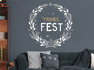 Wandtattoo Weihnachtskranz Frohes Fest