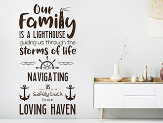 Wandtattoo Our family is a lighthouse