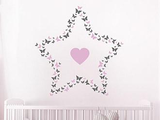 Wandtattoo Schmetterlingsstern mit Herz