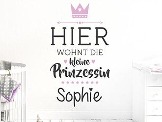 Wandtattoo Kleine Prinzessin mit Wunschname