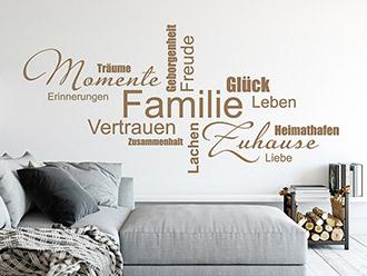Charmant Wandtattoo Wortwolke Familie