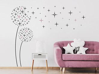 Wandtattoo Blüten mit Sternen