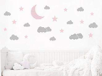 Wandtattoo Mond Wolken und Sterne