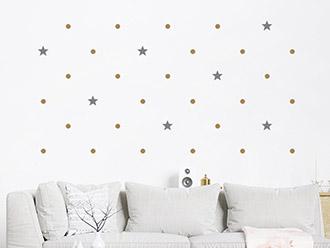 Wandtattoo Punkte und Sterne