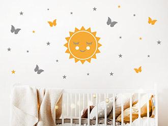 Wandtattoo Sonne Schmetterlinge Sterne