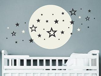 Wandtattoo Vollmond mit Sternen