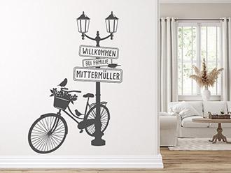 Wandtattoo Laterne mit Fahrrad und Name