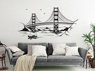 Wandtattoo Golden Gate Bridge mit Schiff