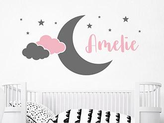 Wandtattoo Mond mit Wolken und Wunschname