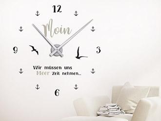 Wandtattoo Uhr Moin