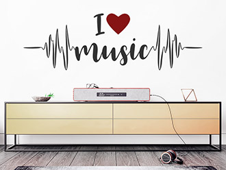 Wandtattoo I love music