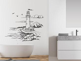 Wandtattoo Leuchtturm Landschaft am Meer
