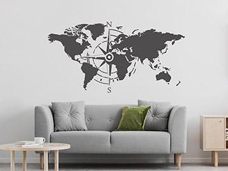 Wandtattoo Weltkarte Himmelsrichtungen