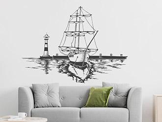 Wandtattoo Segelschiff am Hafen
